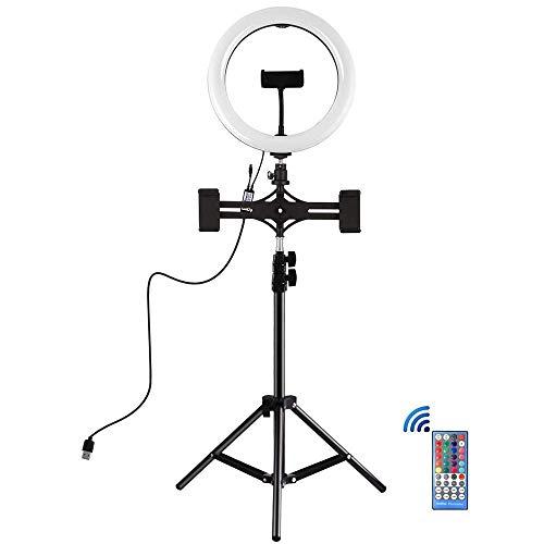 Anillo de relleno USB luz de LED de luz de luz autofoto kits de luz de vídeo de 10 pulgadas 26cm luz RGBW Transmisión en vivo con control remoto y teléfono Clamp, con trípode y teléfono de doble Sopor