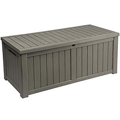 YITAHOME 120 Gallon Resin Deck Box Outdoor Storage Boxes for Patio Furniture, Outdoor Cushions, Garden Tools and Pool Toys-Waterproof (Light Brown)