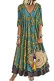 Vestido Mujer Casual Vestidos Boho Largo Verano Playa Fiesta Floral Cuello en V Talla Split Wrap Maxi Vestidoss Verde M