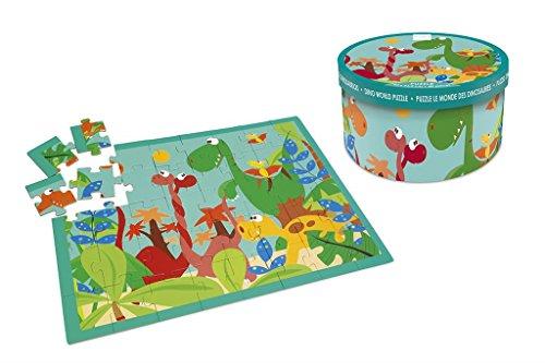 Scratch- Puzzle Caja redonda40p.Dino22x12, Multicolor (Dam bvba 6181091)