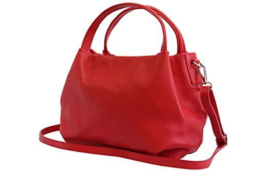 Ambra Moda bolsa de mano, bolsa de hombro para mujer de piel GL023 (Rojo)