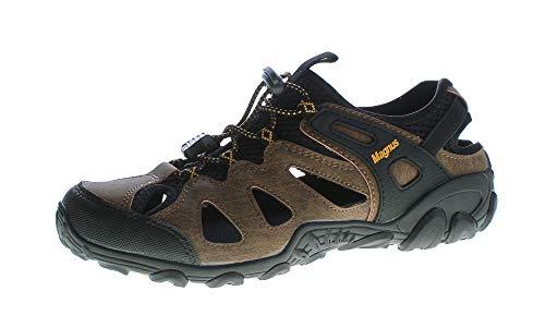 Herren Outdoor Sandaletten echt Leder Gummizug Halb Schuhe Sandalen Braun-Gelb Größe 40