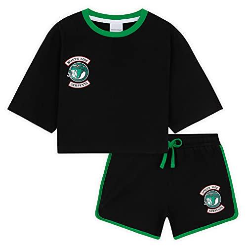 Riverdale Camiseta Corta Y Pantalón Corto para Niña, Ropa Adolescentes Chica con Crop Top, Vixens Y South Side Serpent Regalos para Niñas 7-15 Años (Negro, 13-14 años)