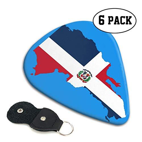 Dominicaanse Republiek Vlag Outline 351 Vorm Klassieke Celluloid Gitaar Picks voor uw elektrische, akoestische, Mandoline, Bas en Ukulele Gitaar .71mm 6-Pack