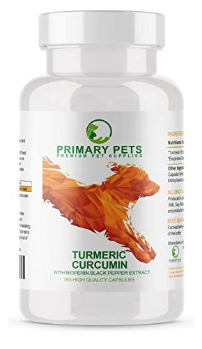 Primary Pets Turmeric for Dogs. Joint and Hip Supplement and Anti Oxidant. 365 x 500mg Turmeric Curcumin Capsules. Equates to 10000mg