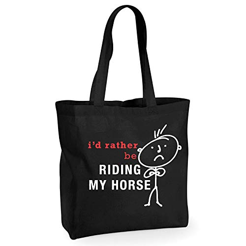 60 Second Makeover Limited Pour homme I'd rather be Riding My Horse Coton Noir de qualité Sac shopping Cabas réutilisable Mari Dad Oncle grand-père anniversaire Noël Saint Valentin Cadeau