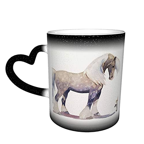 maichengxuan Taza de café unisex de viaje con impresión de caballo personalizada sensible al calor color cambiante taza taza de té de leche tazas de café mágicas
