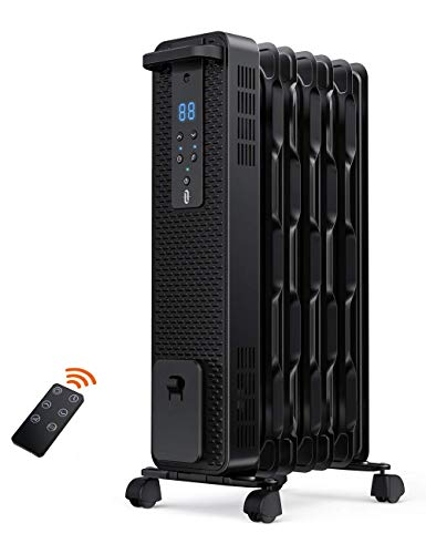 Space Heater, TaoTronics 1500W Oil Filled Radiator Heaters with 3 Heating Mode, 24-Hrs Timer for Auto-On & Off, Remote Control, Electric Portable Heater for Indoor Use Home Office, Large (Renewed)
