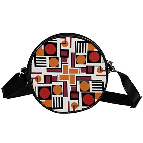 Puzzle Game Diagonal bolsa redonda Crossbody cartera, bolso de hombro de moda círculo cruzado bolso de hombro mini lona Inclinado bolso de hombro