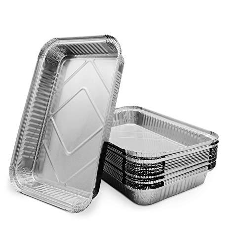 Mamatura 25 XL-Aluminium-Tropfschalen | 25 Aluschalen | 32 x 22 cm, 2100 ml | groß, rechteckig, hitzebeständig (25, Aluschalen ohne Deckel)