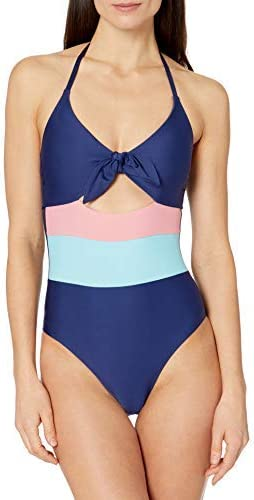Splendid Women's Standard Tie Front Key Hole One Piece Swimsuit