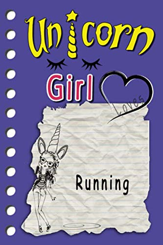 Unicorne Girl loves Running: cute sketchbook Journal and Notebook for Girls - Composition Size (6