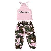 春先と暑い夏の幼児の女の子の女の赤ちゃん2服のスーツ、ノースリーブの祝福のスリングホルタートップ迷彩パンツレタープリントTシャツ+長い迷彩パンツ (ピンク, 3-4年)