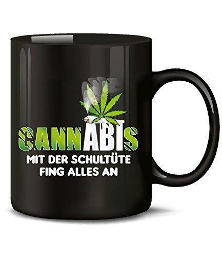 Golebros Schultüte 4866 Tasse Becher Kaffeetasse Kaffeebecher mit Spruch Gras Cannabis Drogen Sprüche Geschenk Artikel Marihuana Drug Dope Kiffer