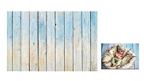 WaW Fotohintergrund Holz Hellblau Vintage 2.2x1.5m, Fotoshooting Leinwand Kulisse Studio Hintergrund Baby, Neugeborene, Ostern, Geburtstag, Video, Deko Foto Requisiten