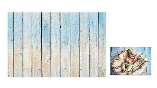 WaW Fotohintergrund Holz Hellblau Stoff Fotoshooting Leinwand Kulisse Studio Hintergrund Baby Neugeborene Ostern Geburtstag Vintage Fotografie 7x5ft