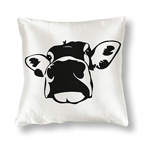Satin Pillowcase Cow Silhouette Pillowcases, Pillowcase for Hair and Skin, Pillows for Sleeping, Throw Pillow Covers, Cushion, Best Gift for Mom, Women.