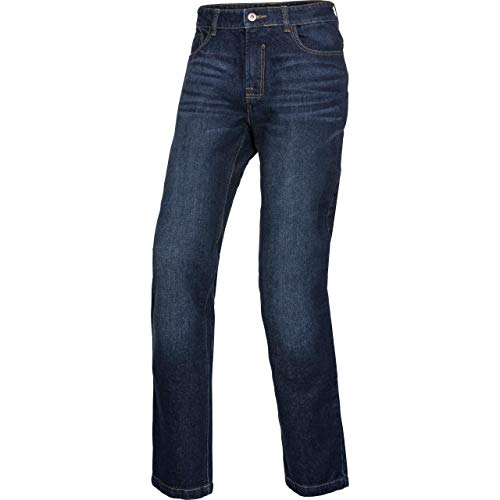 Spirit Motors Motorrad Jeans Motorradhose Motorradjeans Herren Jeans mit Schutzfunktion, 5-Pocket-Jeans, Boot-Cut Style, Knieprotektoren-Taschen, Abriebfeste Aramid-/Baumwolljeans, Dunkelblau, 36/32