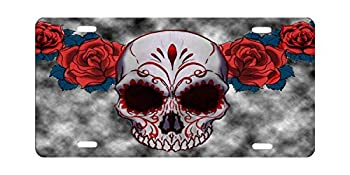 RENJUNDUN Funny License Plate Frame Unique Design Vanity License Plate Metal Car License Plate - Sugar Skull Red Owl and Rose Tattoo