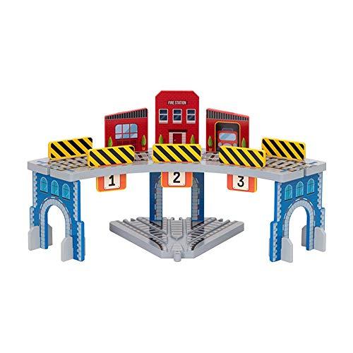 Circuito De Tren De Madera, Estación De Tren De Madera De 2 Capas, Juego De Tren De Juguete con Motor De Tanque, Estación De Señal Global para Niños, Las Marcas Brio Son Compatibles