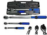 Kraftwelle Drehmomentschlüssel Set 3 teilig 1/4 , 3/8 , 1/2 Zoll 5-220 NM Ratsche Werkzeug Set KFZ PKW Fahrrad Umschaltknarre