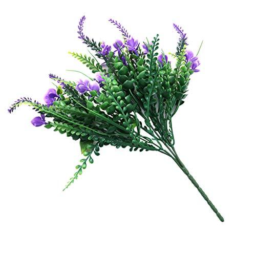Cabilock Sztuczna orchidea kwiat tworzywo sztuczne kwiaty bukiet sztuczna zieleń krzewy aranżacje kwiatowe wesele stół dekoracja do kuchni ogrodu wewnątrz fioletowy