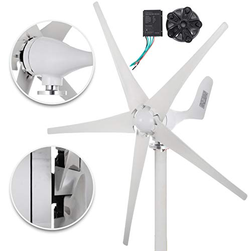 Happybuy Wind Turbine Generator 500W DC 12V Wind Turbine 5 Blade Low Wind Speed Starting NSK Bearings Garden Street Lights Wind Turbines with Charge Controller Garden