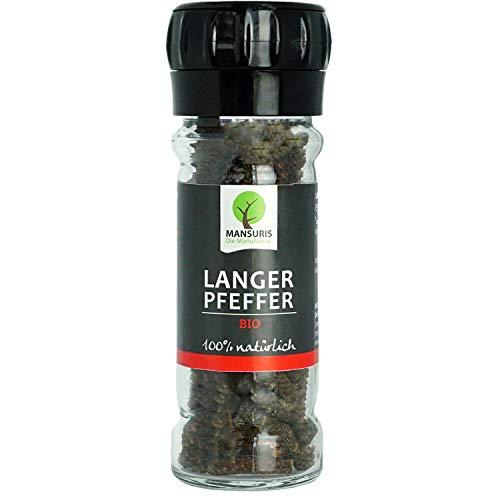 MANSURIS - Bio Langer Pfeffer in Pfeffermühle 35 g (Glas) - Premium Langpfeffer ganz in Schwarz