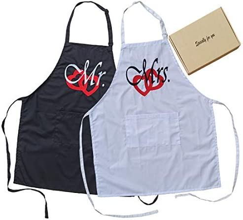 UniLiGis Embroidery Pattern Mr Mrs Kitchen Apron for Sweet Couple Adjustable Neck Strap for product image