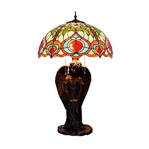 Tiffany Style Bureaulamp, glasplaat, lampenkap van kunsthars, oranje, perzik, gesneden, basis geschikt voor woonkamer, slaapkamer, nachtkastje, leeslampje, breedte 50 cm, E27,40 W, 3 stuks