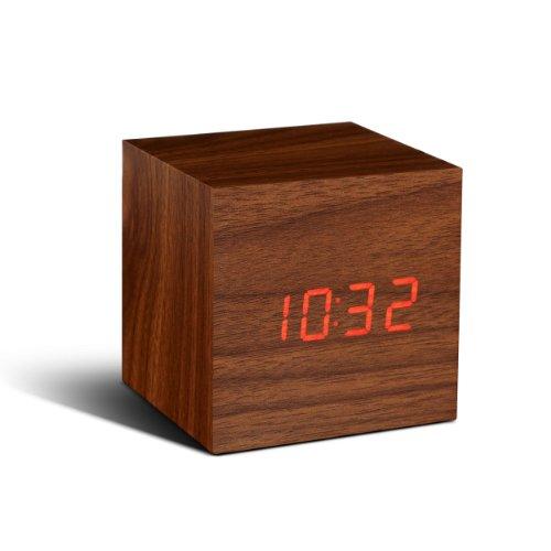 Gingko GK08R8 Würfel-Digitaluhr 'Click Clock' Walnuss mit roter LED-Anzeige