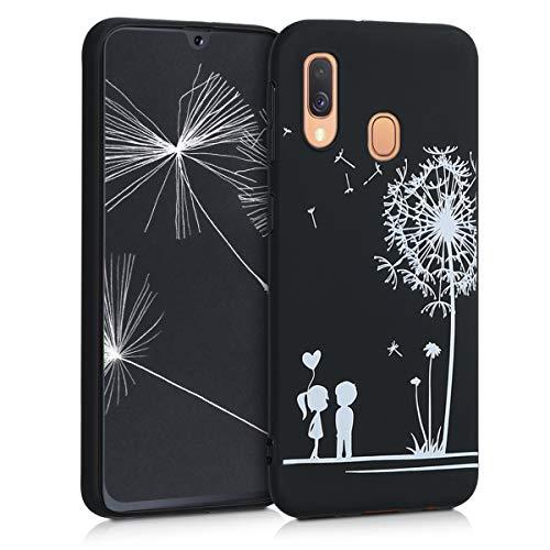 kwmobile Hülle kompatibel mit Samsung Galaxy A40 - Handyhülle - Handy Case Pusteblume Love Weiß Schwarz