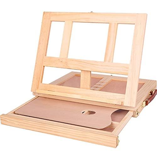 Ashley GAO Caballetes de mesa de madera para pintura artistas niños cajón caja de escritorio accesorios de ordenador portátil maleta color hardware arte suministros