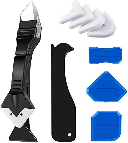3 in 1 Silikon-Abdichtungswerkzeug (Edelstahlkopf), Silikonentferner WerkzeugDichtungsmittel, Fugenschaber, Wiederverwenden und Ersetzen von 5 Silikonpads, tolles Werkzeug für Küche, Badezimmer,