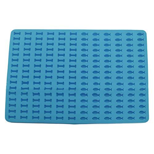 Mini-Knochen-Silikon-Kuchenformen zum Backen, antihaftbeschichtete Fisch-Backmatte, Schokoladenformen, Silikonformen für H&ekekse & Leckereien, 39 x 28 cm (blau)