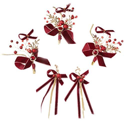 Lurrose Bogen Tropfen Ohrringe Haarspangen Set Quaste Baumeln Ohrringe Perlen Bogen Haarnadeln Schmuck Set für Frauen Mädchen