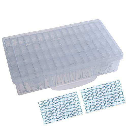 ParNarZar Slots Diamant Malerei Stickerei Box Diamant Malerei Zubehör Aufbewahrungsbox mit 128 Stück Craft Label Marker Aufkleber