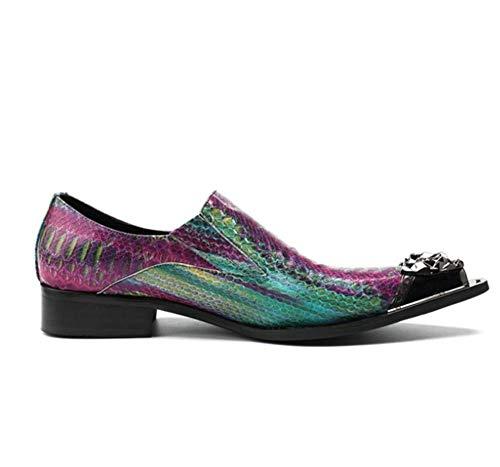 Phil Beauty Púrpura Moda Masculina Casual Cuero Planchado Taladro Personalidad Textura Metal Zapatos Formales Discoteca Bajos Británicos para Hombre Negocios Botas Zapatos De Tendencia,Eu45