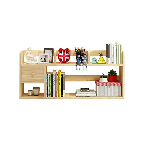 HYAN Schreibtisch Organizer Hölzerner Desktop-Bücherregal mit Schubladenbüro Lagerregal-Schreibtisch-Organizer-Arbeitop-Bücherregal-frei-Stil-Foto-Display-Regal Desktop-Bücherregal