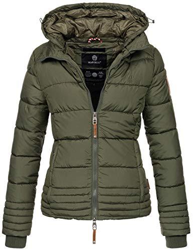 Marikoo Designer Damen Winter Jacke Steppjacke Winterjacke Stepp gesteppt B668 [B668-Sol-Forest-Green-Gr.XS]