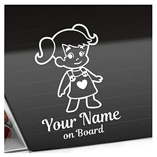 Babyaufkleber Mädchen Zöpfe Herz Sticker 25 Farben mit Wunschtext + on Board 20cm