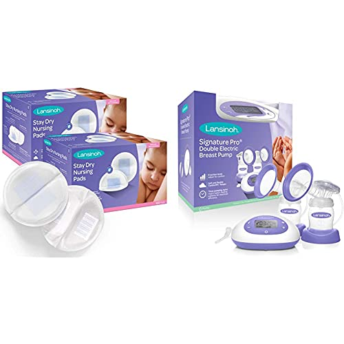 Lansinoh Stay Dry Disposable Nursing Pads for Breastfeeding, 200 Count with Lansinoh SignaturePro Double Electric Breast Pump