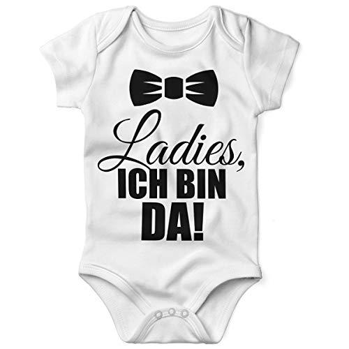 Mikalino Babybody mit Spruch für Jungen Mädchen Unisex Kurzarm Ladies, ich Bin da! | handbedruckt in Deutschland | Handmade with Love, Farbe:Weiss, Grösse:68