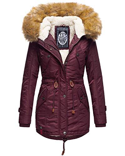 Navahoo warme Damen Winter Jacke Teddyfell Winterjacke Parka Mantel B399 (S, Weinrot)