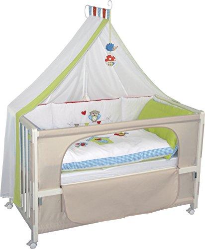 roba Lit d'allaitement, lit bébé 60x120cm laqué en blanc 'Woodland Marriage', fixation au lit parental possible, avec linge de lit