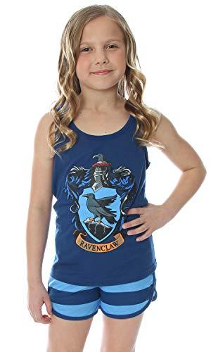Las niñas grandes de Harry Potter Hogwarts House Crest espalda cruzada Depósito y shorts Pajama Salón (Ravenclaw, 10/12)