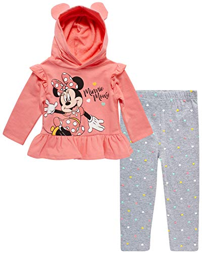 Disney Baby Girls Minnie Mouse 2-Piece Hoodie and Leggings Pants Set (Newborn and Infant), Size 18 Months, Minnie Glitter Pink