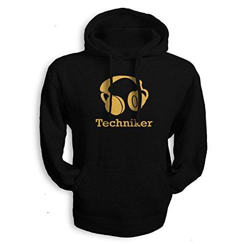 net-shirts Techniker Hoodie Kopfhörer Headphones Kapuzenpullover Musik Music Electro Hip Hop, Größe S, schwarz