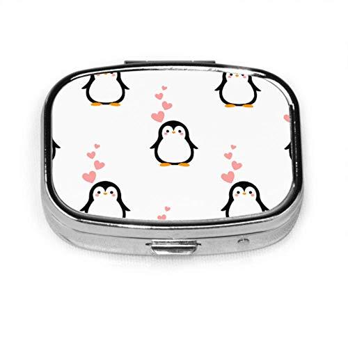 Preisvergleich Produktbild Cartoon Pinguin Happy Girl Pillendose Tägliche Pillendose Kleine Tablettenhalter Brieftasche Organizer Fall für Tasche oder Geldbörse
