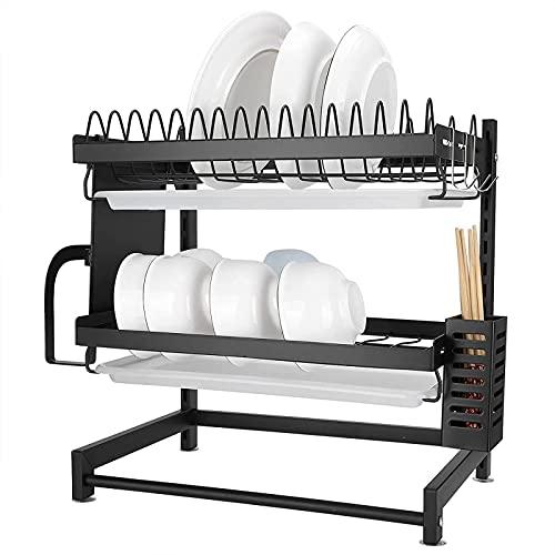 GDEVNSL Estante para secar Platos, Estante para Platos de Cocina de 2 Niveles, Organizador de Estante de Almacenamiento de Secado de Cuenco de Acero Inoxidable a Prueba de Agua, 40x28x42cm